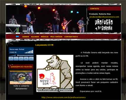 Layout Site Banda Profusao Sonora